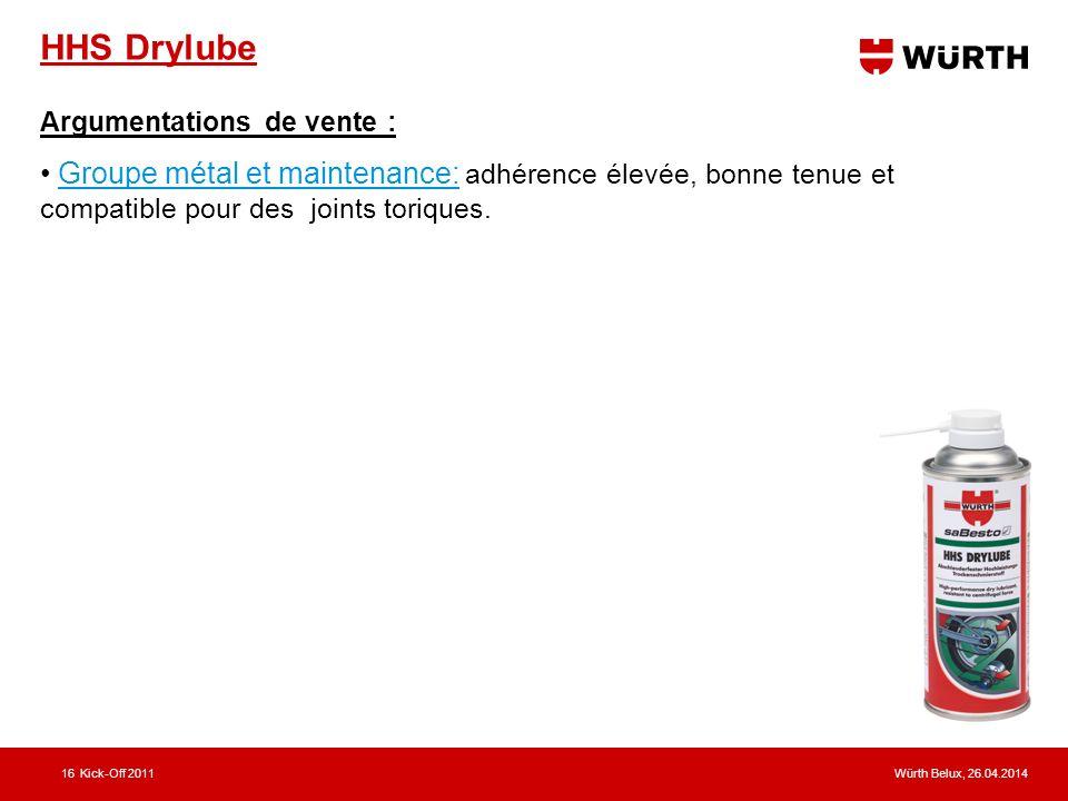 Würth Belux, 26.04.2014Kick-Off 201116 HHS Drylube Argumentations de vente : Groupe métal et maintenance: adhérence élevée, bonne tenue et compatible pour des joints toriques.