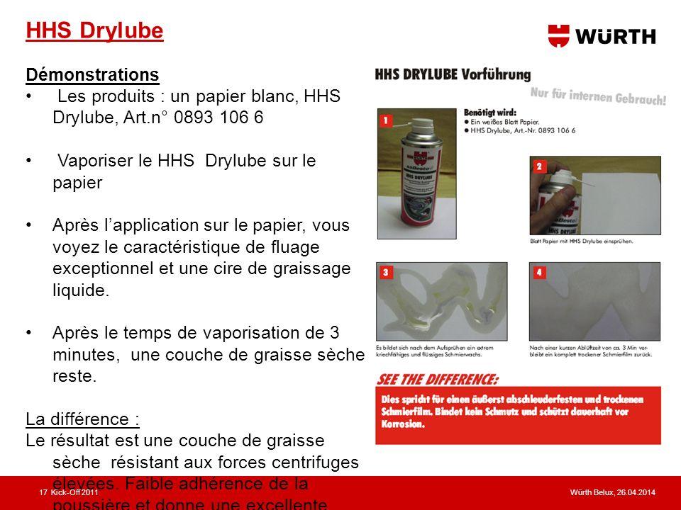 Würth Belux, 26.04.2014Kick-Off 201117 HHS Drylube Démonstrations Les produits : un papier blanc, HHS Drylube, Art.n° 0893 106 6 Vaporiser le HHS Dryl