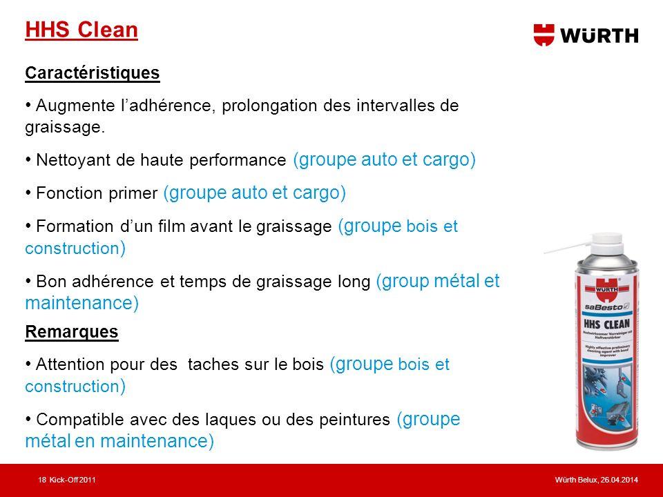 Würth Belux, 26.04.2014Kick-Off 201118 HHS Clean Caractéristiques Augmente ladhérence, prolongation des intervalles de graissage. Nettoyant de haute p