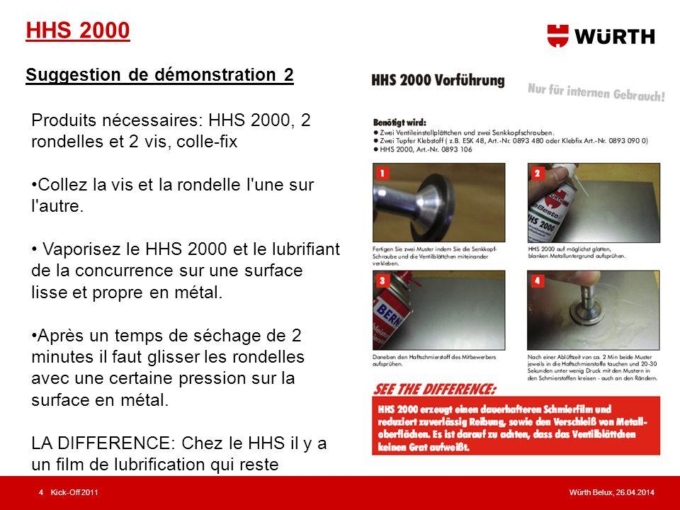 Würth Belux, 26.04.2014Kick-Off 20114 HHS 2000 Suggestion de démonstration 2 Produits nécessaires: HHS 2000, 2 rondelles et 2 vis, colle-fix Collez la vis et la rondelle l une sur l autre.