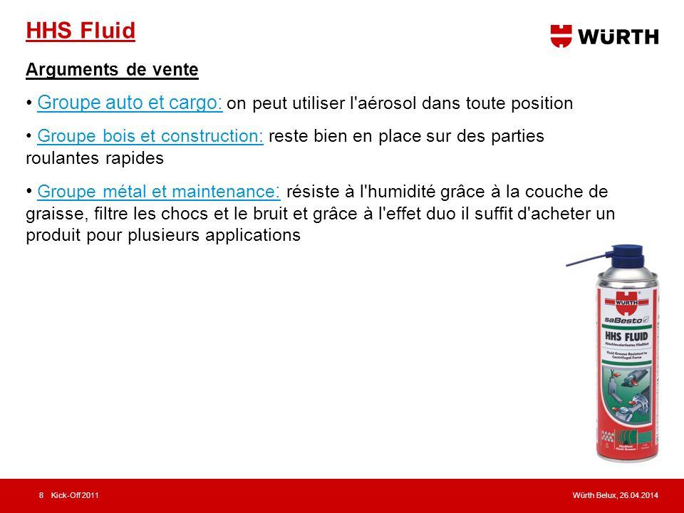 Würth Belux, 26.04.2014Kick-Off 20118 HHS Fluid Arguments de vente Groupe auto et cargo: on peut utiliser l'aérosol dans toute position Groupe bois et