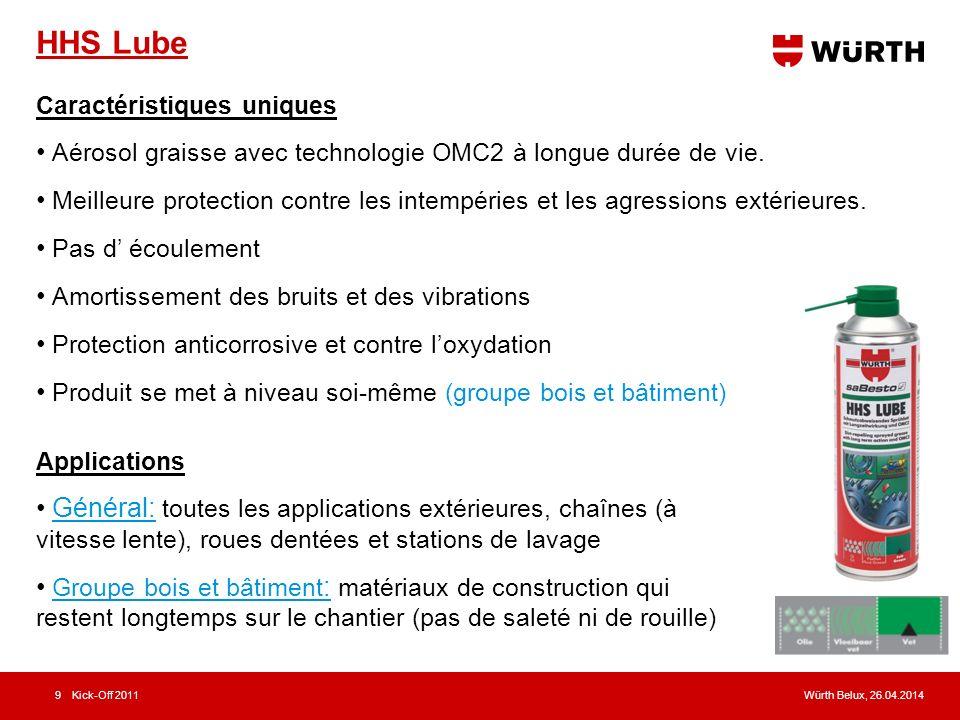 Würth Belux, 26.04.2014Kick-Off 20119 HHS Lube Caractéristiques uniques Aérosol graisse avec technologie OMC2 à longue durée de vie. Meilleure protect