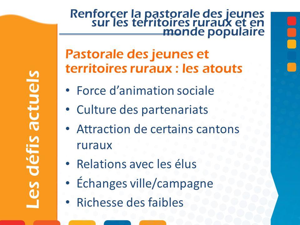 Pastorale des jeunes et territoires ruraux : les atouts Les défis actuels Renforcer la pastorale des jeunes sur les territoires ruraux et en monde pop