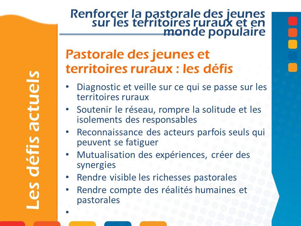 Pastorale des jeunes et territoires ruraux : les défis Les défis actuels Renforcer la pastorale des jeunes sur les territoires ruraux et en monde popu