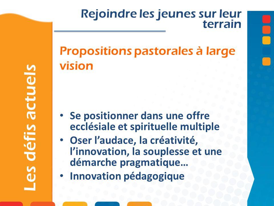 Propositions pastorales à large vision Les défis actuels Rejoindre les jeunes sur leur terrain Se positionner dans une offre ecclésiale et spirituelle