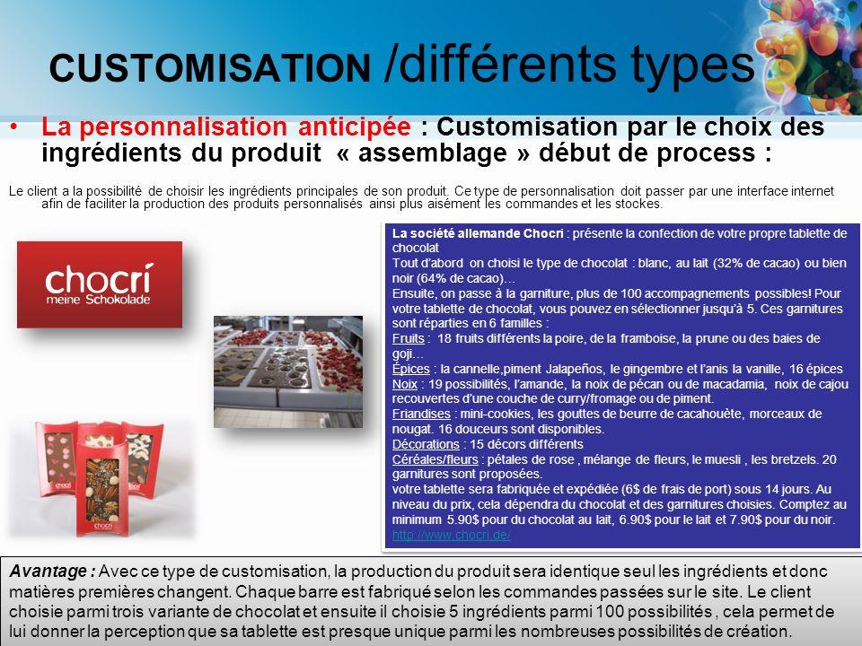 Avantage : Avec ce type de customisation, la production du produit sera identique seul les ingrédients et donc matières premières changent. Chaque bar