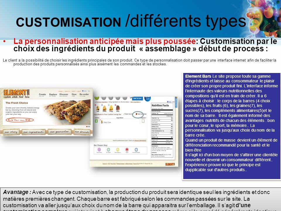 La personnalisation anticipée mais plus poussée: Customisation par le choix des ingrédients du produit « assemblage » début de process : Le client a l