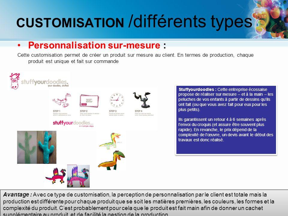 Avantage : Avec ce type de customisation, la perception de personnalisation par le client est totale mais la production est différente pour chaque pro