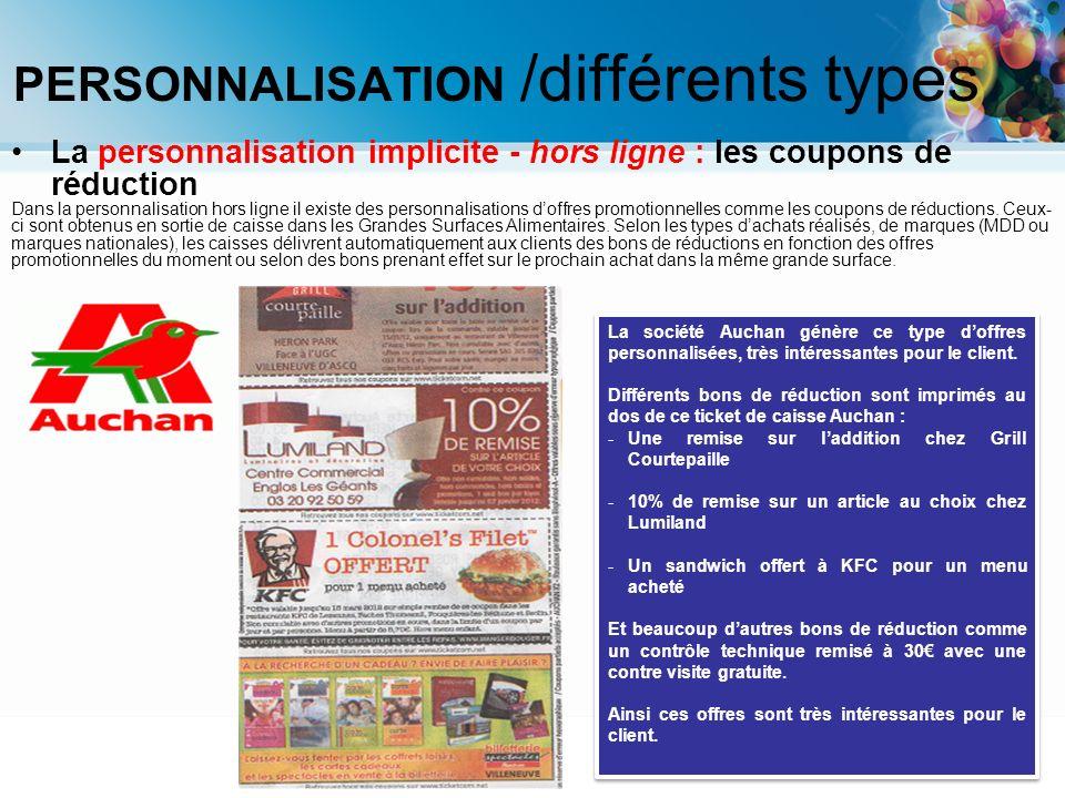 La personnalisation implicite - hors ligne : les coupons de réduction Dans la personnalisation hors ligne il existe des personnalisations doffres prom