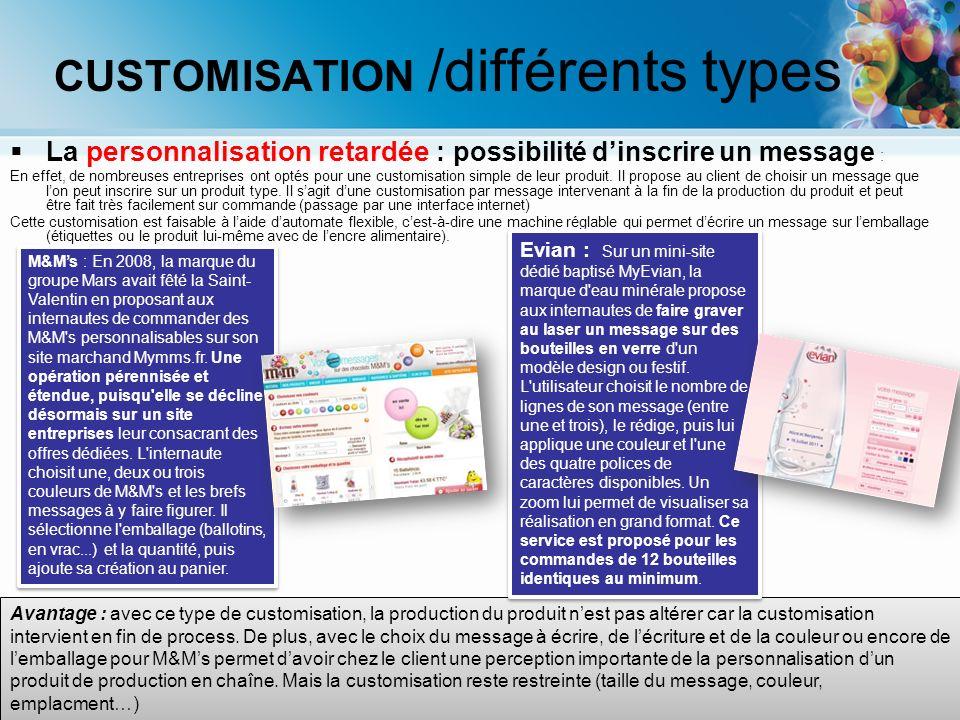 PERSONNALISATION /différents types La personnalisation explicite – en ligne : La newsletter Cette lettre dinformation est envoyée, par le biais d internet, régulièrement par mail à des abonnés.