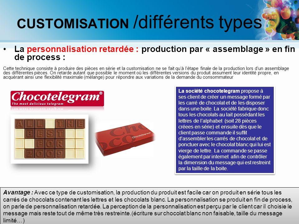 La personnalisation retardée : production par « assemblage » en fin de process : Cette technique consiste à produire des pièces en série et la customi
