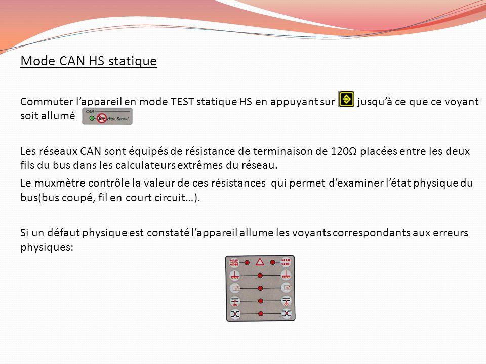 Mode CAN HS statique Commuter lappareil en mode TEST statique HS en appuyant sur jusquà ce que ce voyant soit allumé Les réseaux CAN sont équipés de r