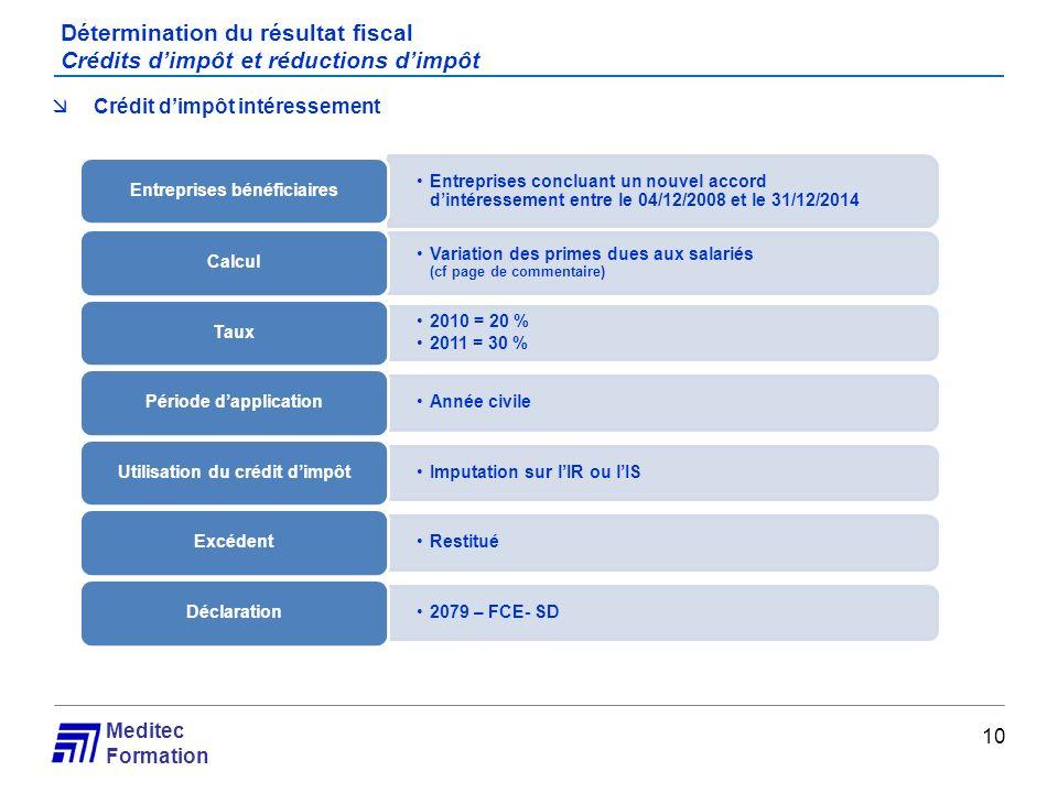 Meditec Formation Détermination du résultat fiscal Crédits dimpôt et réductions dimpôt 10 Crédit dimpôt intéressement Entreprises concluant un nouvel