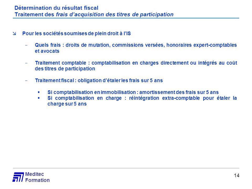 Meditec Formation Détermination du résultat fiscal Traitement des frais dacquisition des titres de participation 14 Pour les sociétés soumises de plei
