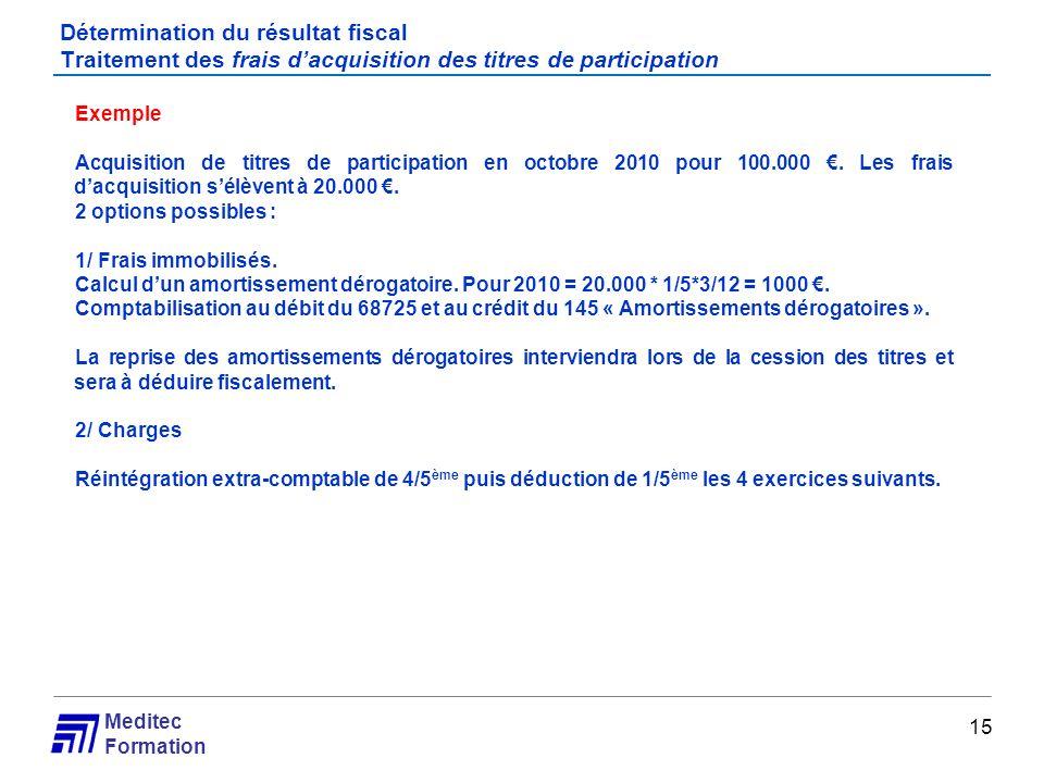 Meditec Formation Détermination du résultat fiscal Traitement des frais dacquisition des titres de participation 15 Exemple Acquisition de titres de p