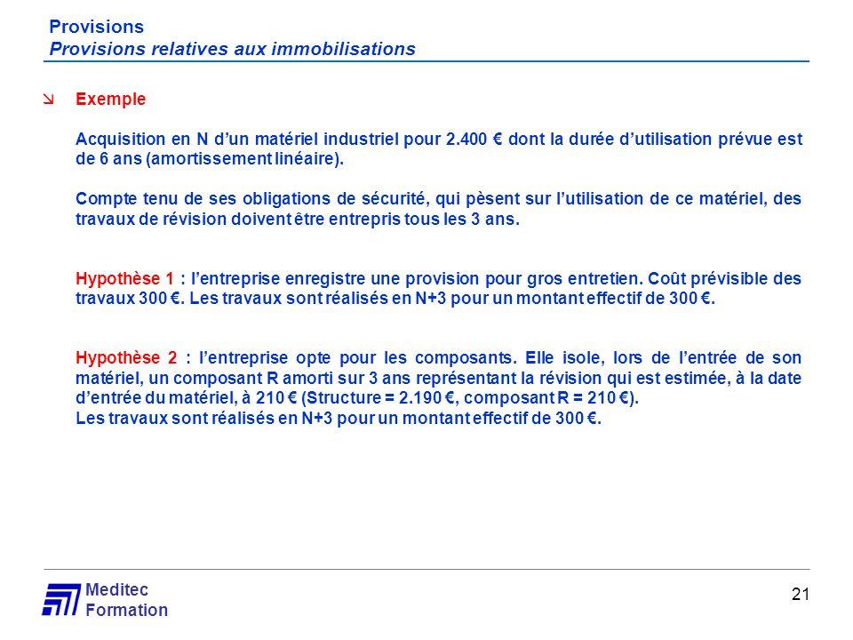 Meditec Formation Provisions Provisions relatives aux immobilisations 21 Exemple Acquisition en N dun matériel industriel pour 2.400 dont la durée dut