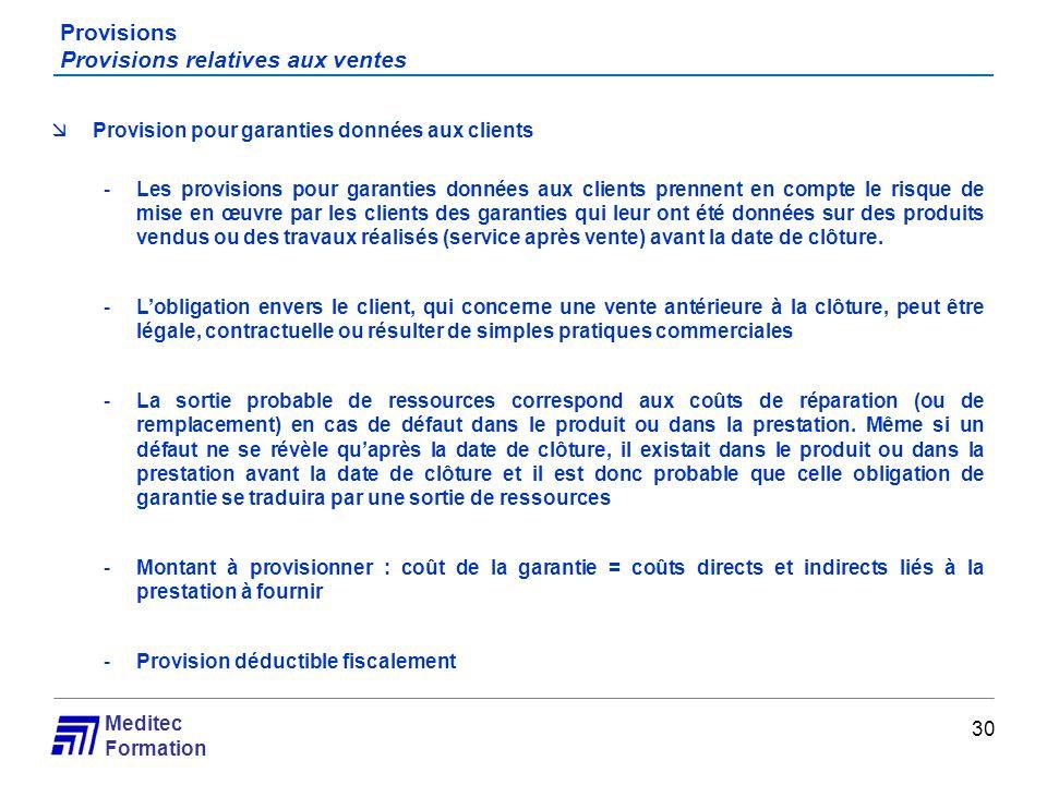 Meditec Formation Provisions Provisions relatives aux ventes 30 Provision pour garanties données aux clients -Les provisions pour garanties données au