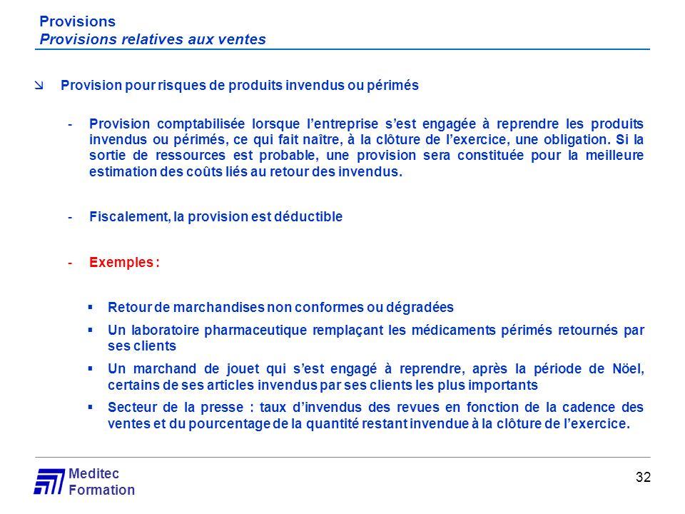 Meditec Formation Provisions Provisions relatives aux ventes 32 Provision pour risques de produits invendus ou périmés -Provision comptabilisée lorsqu