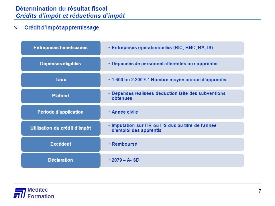 Meditec Formation Détermination du résultat fiscal Crédits dimpôt et réductions dimpôt 7 Crédit dimpôt apprentissage Entreprises opérationnelles (BIC,