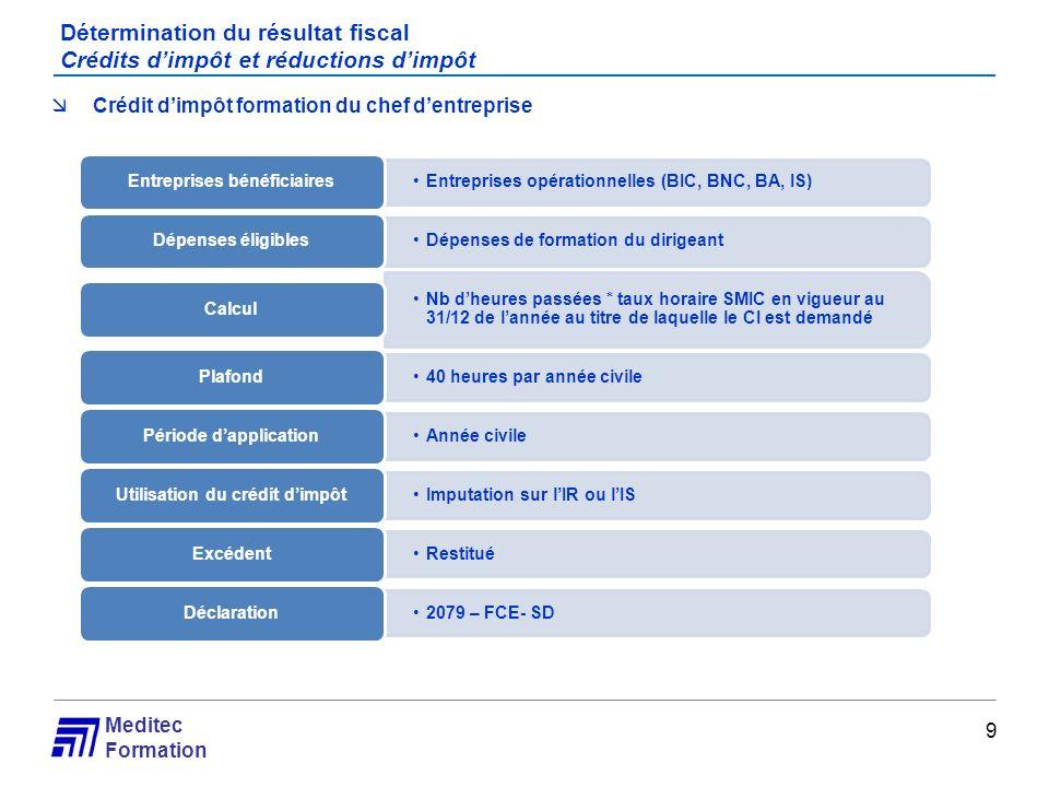 Meditec Formation Détermination du résultat fiscal Crédits dimpôt et réductions dimpôt 9 Crédit dimpôt formation du chef dentreprise Entreprises opéra