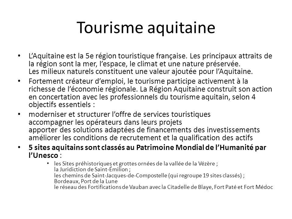 Tourisme aquitaine LAquitaine est la 5e région touristique française. Les principaux attraits de la région sont la mer, lespace, le climat et une natu