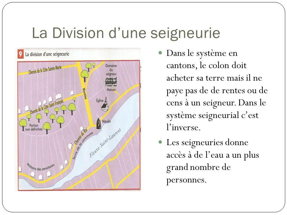 La Division dune seigneurie Dans le système en cantons, le colon doit acheter sa terre mais il ne paye pas de de rentes ou de cens à un seigneur. Dans