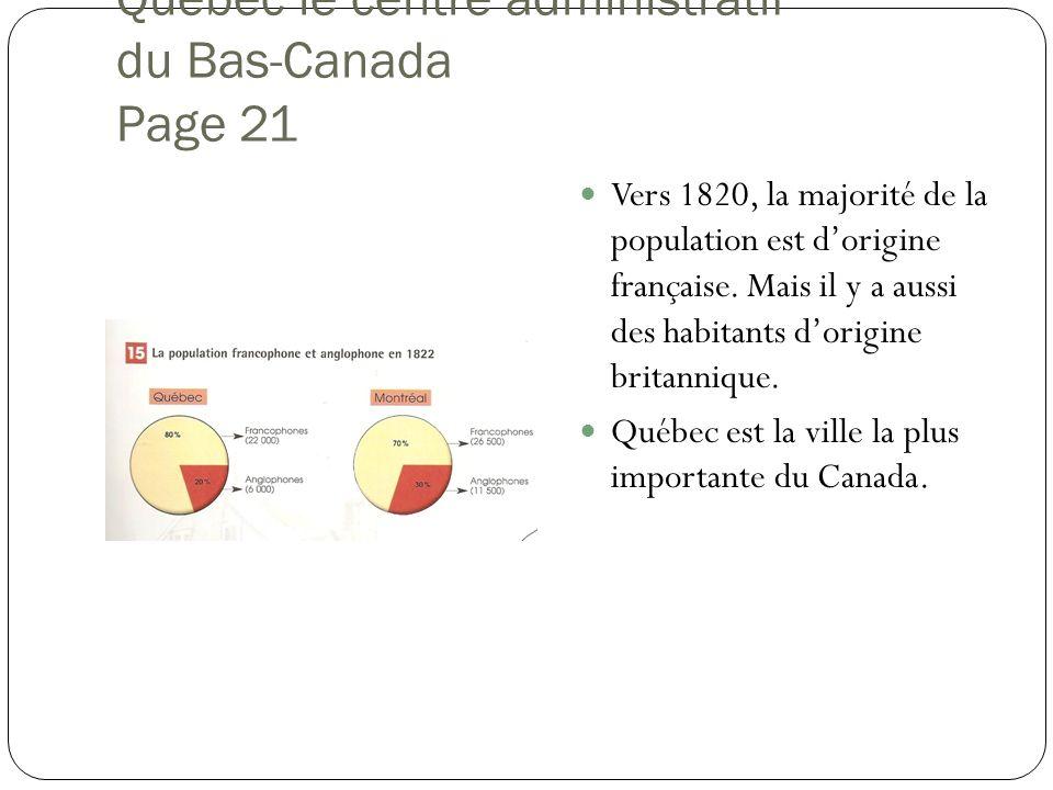 Québec le centre administratif du Bas-Canada Page 21 Vers 1820, la majorité de la population est dorigine française. Mais il y a aussi des habitants d