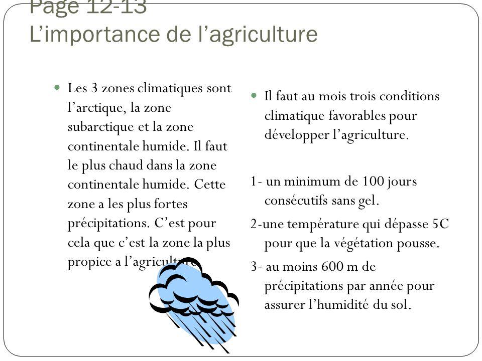 Page 12-13 Limportance de lagriculture Les 3 zones climatiques sont larctique, la zone subarctique et la zone continentale humide. Il faut le plus cha