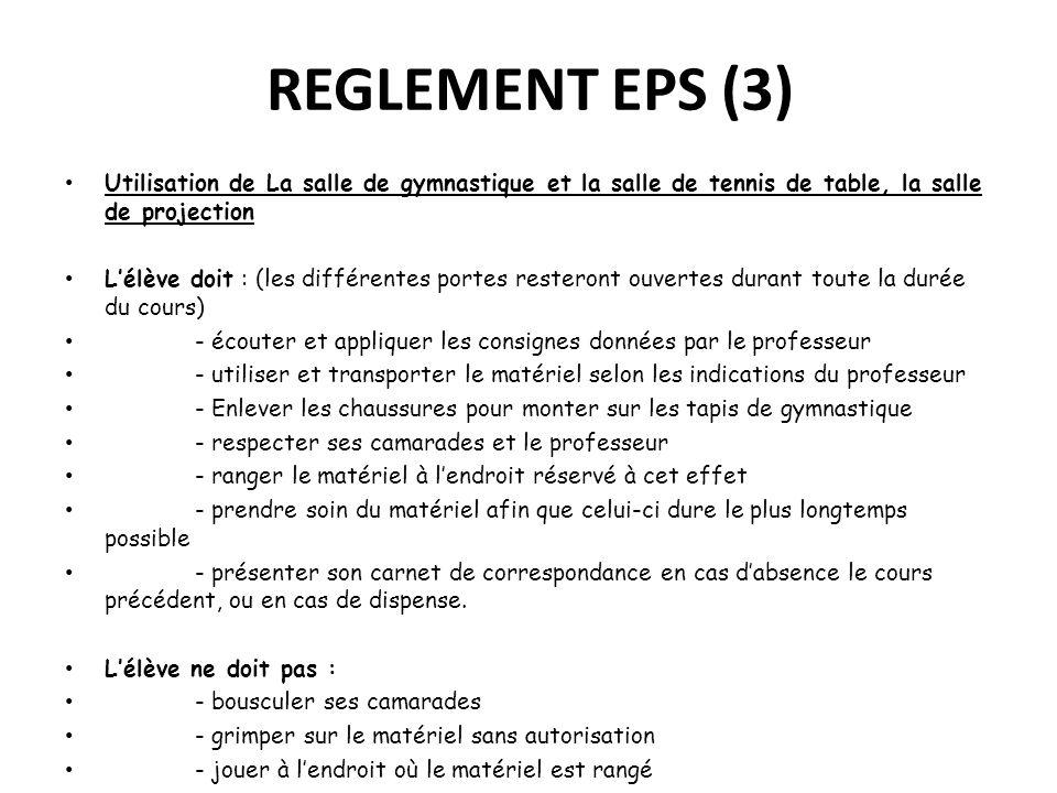 REGLEMENT EPS (3) Utilisation de La salle de gymnastique et la salle de tennis de table, la salle de projection Lélève doit : (les différentes portes
