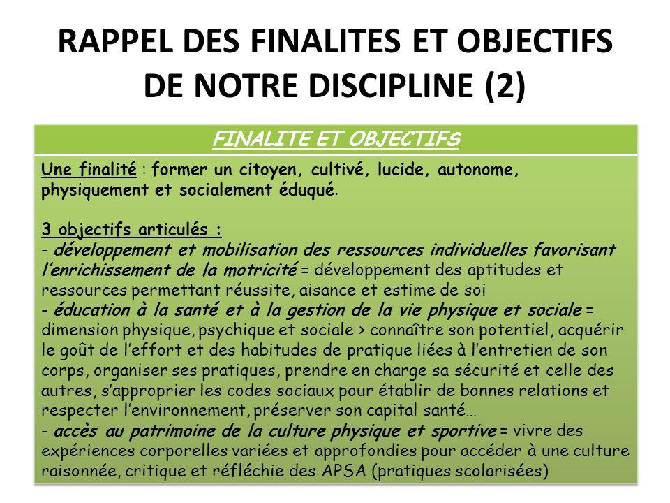 RAPPEL DES FINALITES ET OBJECTIFS DE NOTRE DISCIPLINE (2)