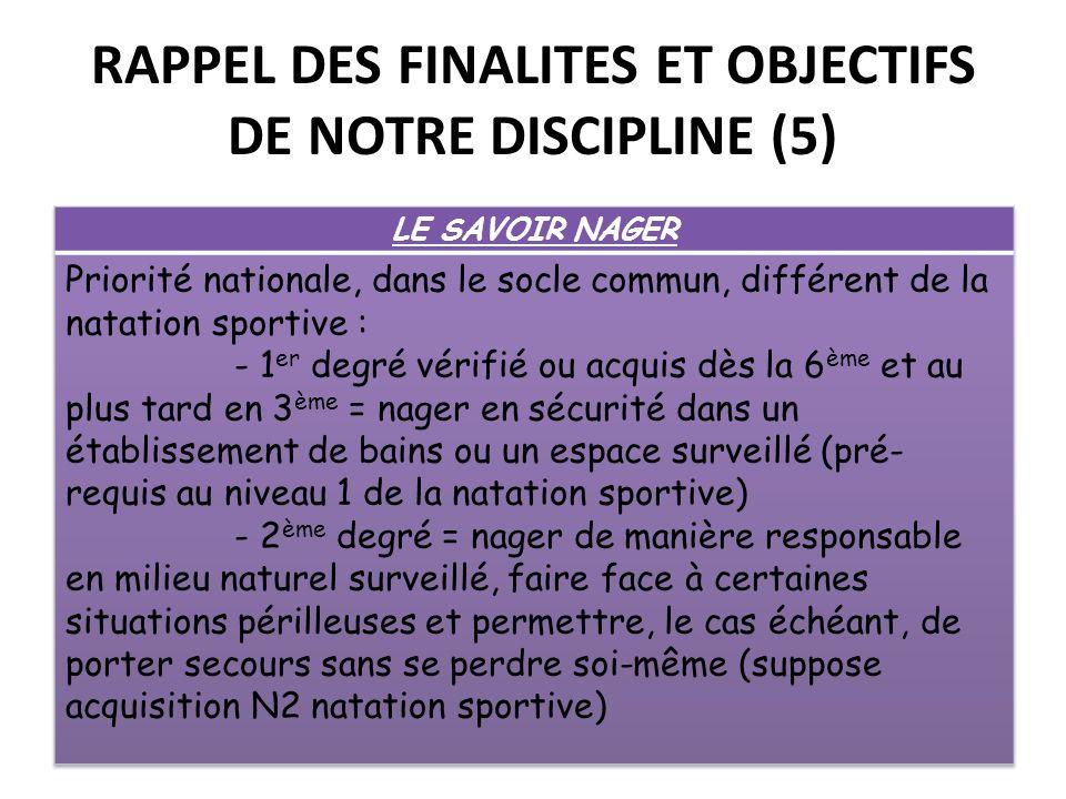 RAPPEL DES FINALITES ET OBJECTIFS DE NOTRE DISCIPLINE (5)