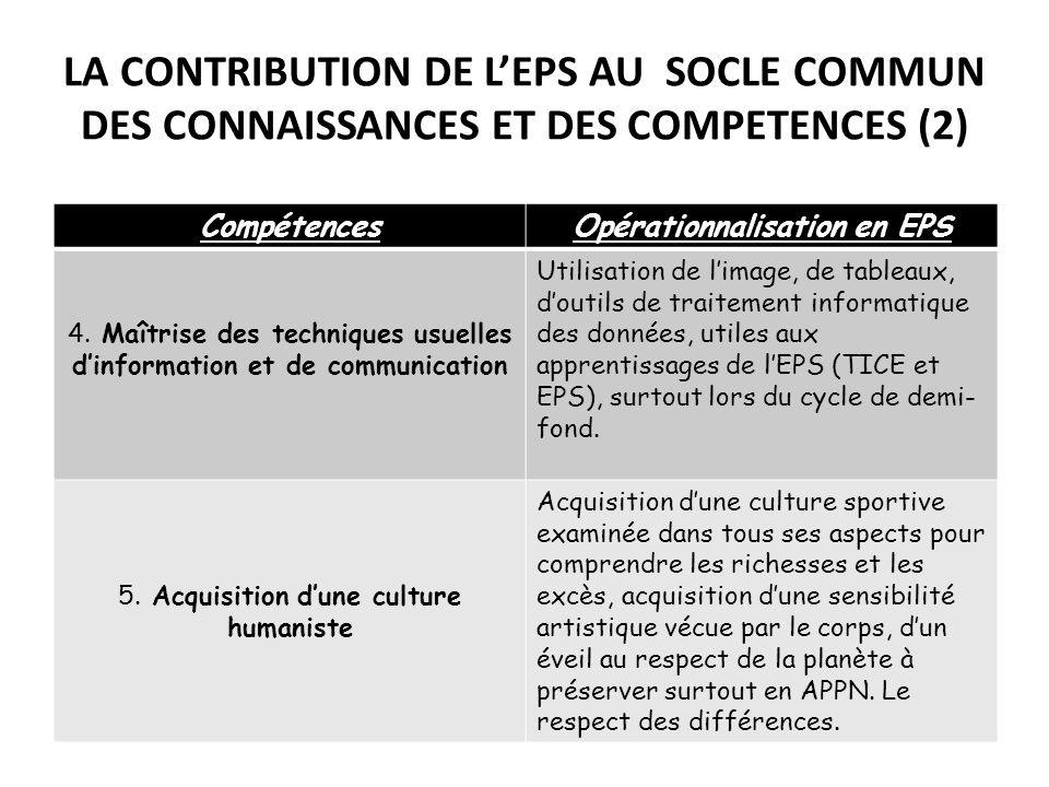 LA CONTRIBUTION DE LEPS AU SOCLE COMMUN DES CONNAISSANCES ET DES COMPETENCES (2) CompétencesOpérationnalisation en EPS 4. Maîtrise des techniques usue