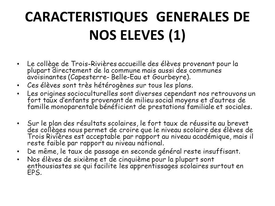 CARACTERISTIQUES GENERALES DE NOS ELEVES (1) Le collège de Trois-Rivières accueille des élèves provenant pour la plupart directement de la commune mai