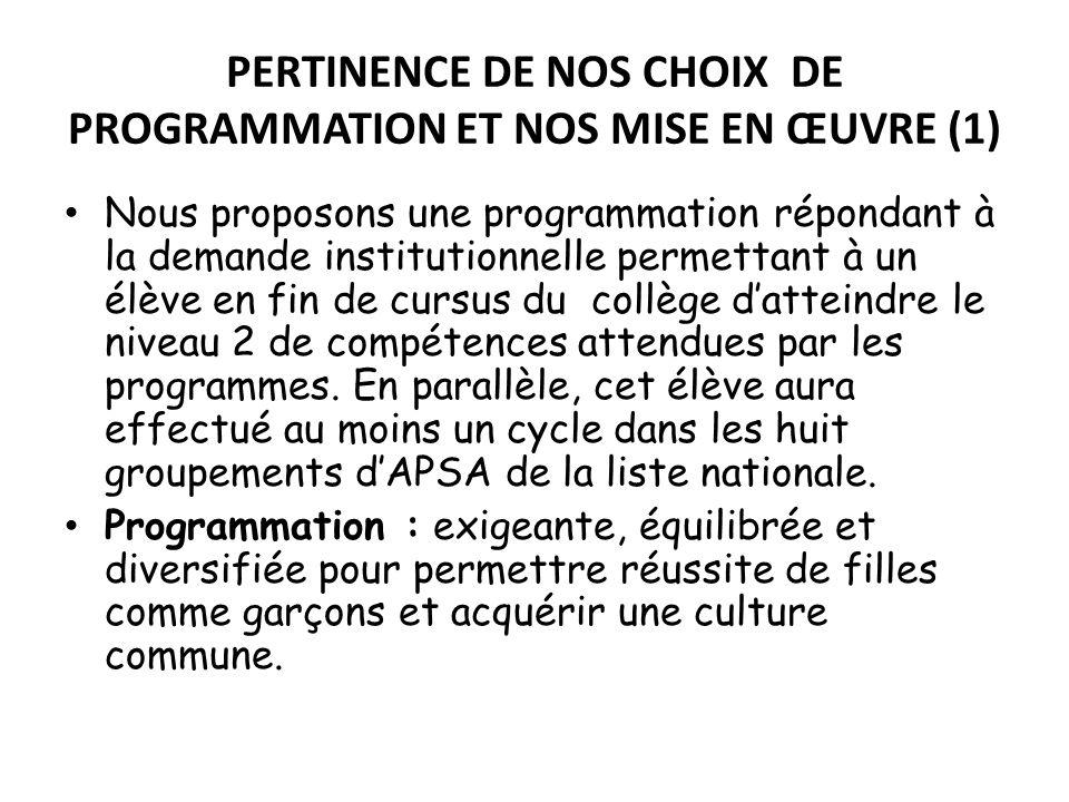 PERTINENCE DE NOS CHOIX DE PROGRAMMATION ET NOS MISE EN ŒUVRE (1) Nous proposons une programmation répondant à la demande institutionnelle permettant