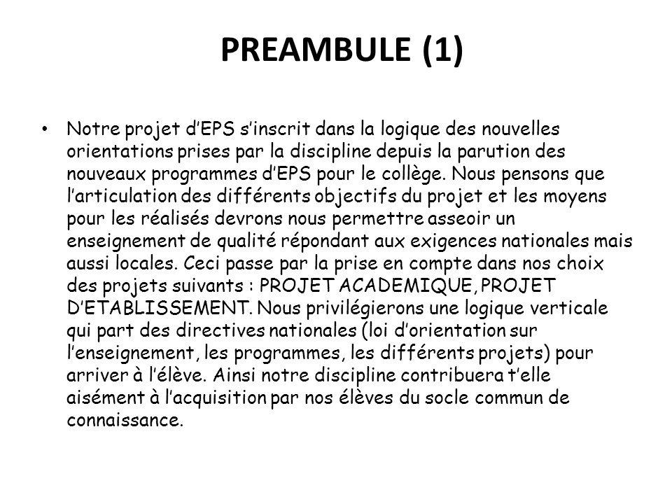 PREAMBULE (1) Notre projet dEPS sinscrit dans la logique des nouvelles orientations prises par la discipline depuis la parution des nouveaux programme