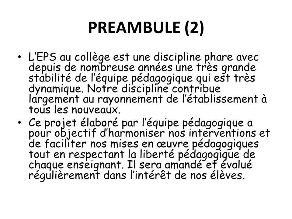 PREAMBULE (2) LEPS au collège est une discipline phare avec depuis de nombreuse années une très grande stabilité de léquipe pédagogique qui est très d