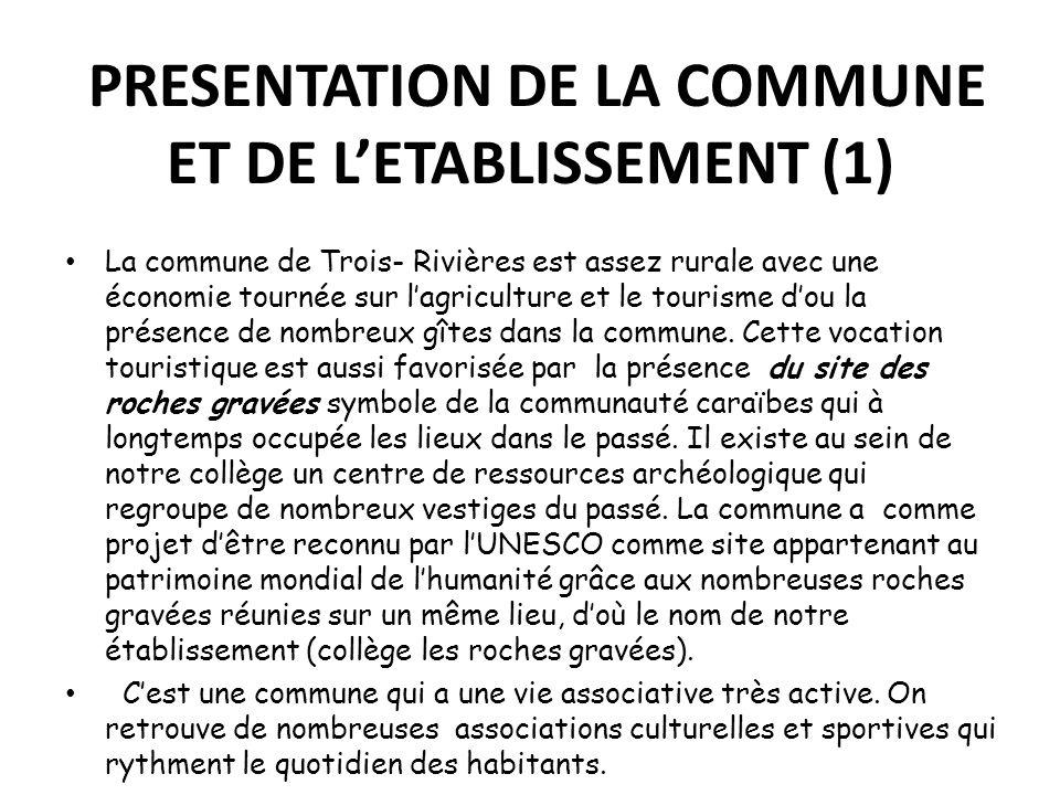PRESENTATION DE LA COMMUNE ET DE LETABLISSEMENT (1) La commune de Trois- Rivières est assez rurale avec une économie tournée sur lagriculture et le to