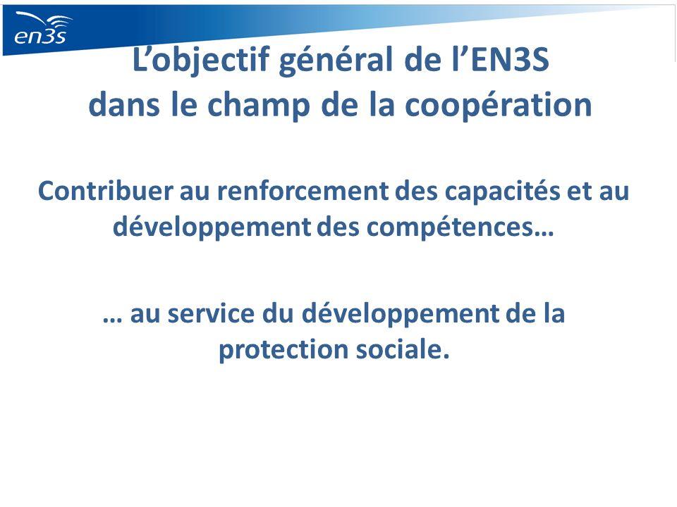 Lobjectif général de lEN3S dans le champ de la coopération Contribuer au renforcement des capacités et au développement des compétences… … au service du développement de la protection sociale.