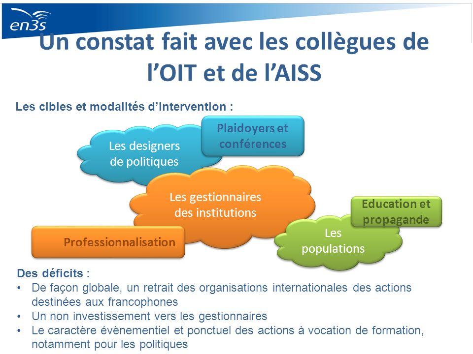 Un constat fait avec les collègues de lOIT et de lAISS Des déficits : De façon globale, un retrait des organisations internationales des actions desti