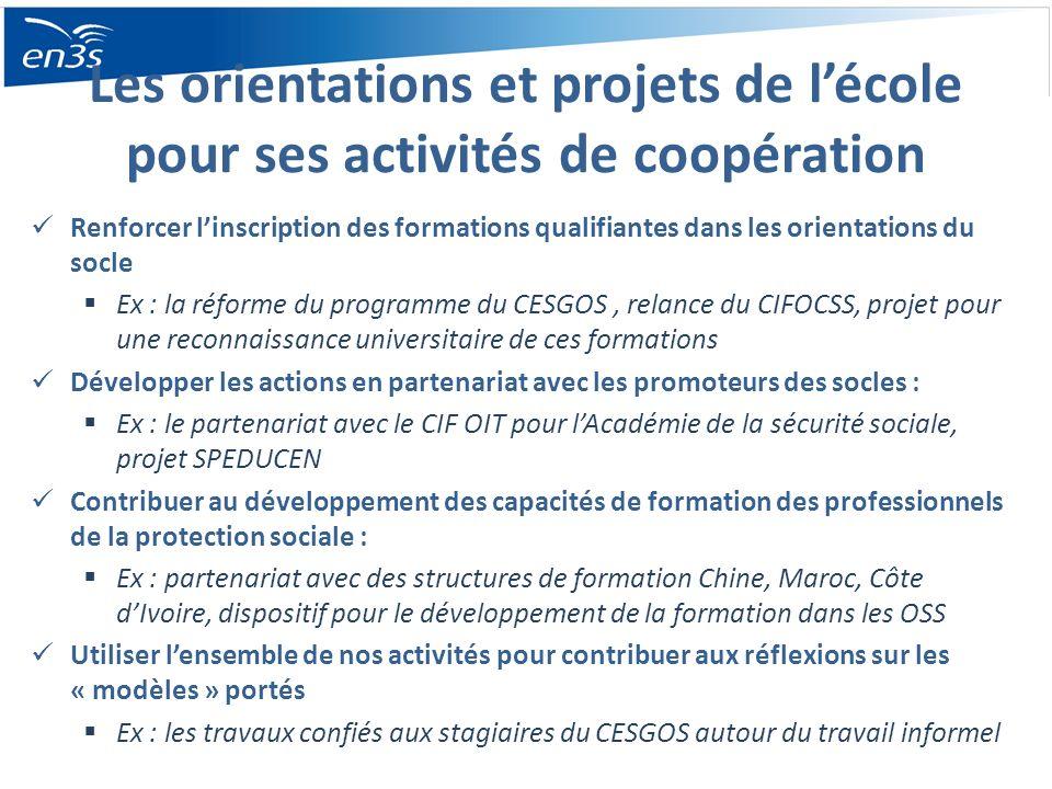 Les orientations et projets de lécole pour ses activités de coopération Renforcer linscription des formations qualifiantes dans les orientations du so