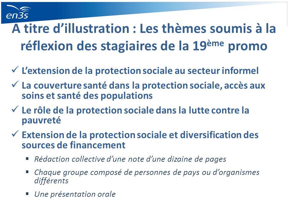 A titre dillustration : Les thèmes soumis à la réflexion des stagiaires de la 19 ème promo Lextension de la protection sociale au secteur informel La
