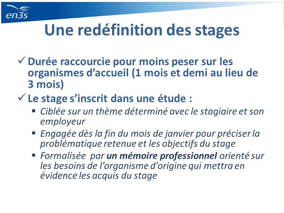 Une redéfinition des stages Durée raccourcie pour moins peser sur les organismes daccueil (1 mois et demi au lieu de 3 mois) Le stage sinscrit dans un