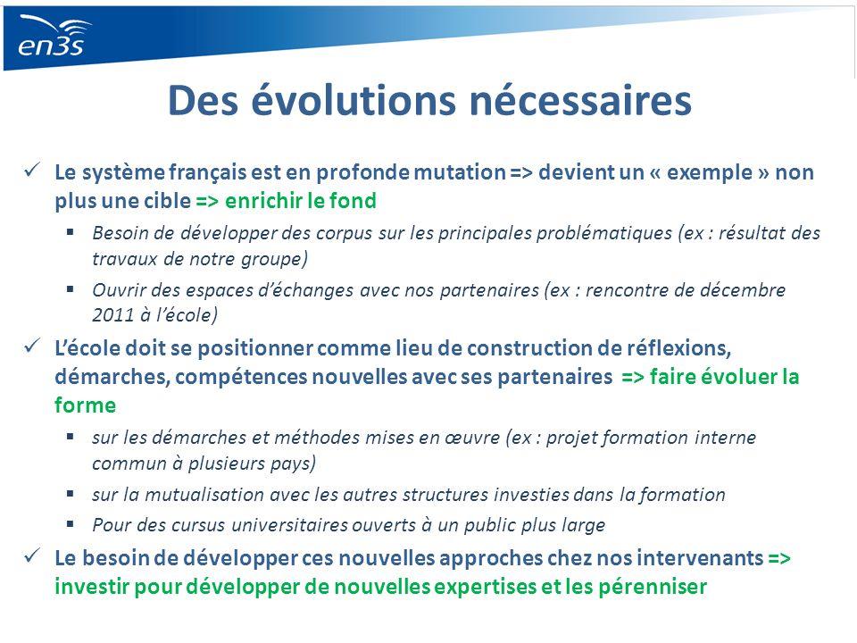 Des évolutions nécessaires Le système français est en profonde mutation => devient un « exemple » non plus une cible => enrichir le fond Besoin de dév