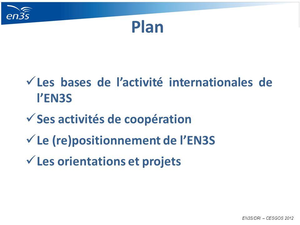 Les bases de lactivité internationales de lEN3S Ses activités de coopération Le (re)positionnement de lEN3S Les orientations et projets EN3S/DRI – CESGOS 2012 Plan