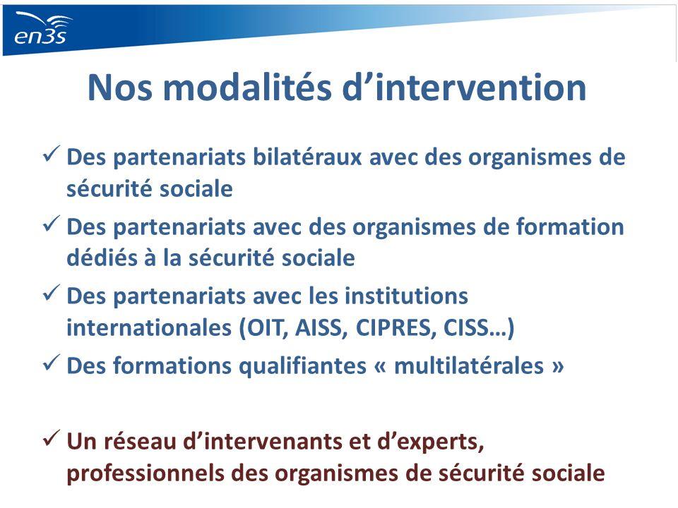 Nos modalités dintervention Des partenariats bilatéraux avec des organismes de sécurité sociale Des partenariats avec des organismes de formation dédi