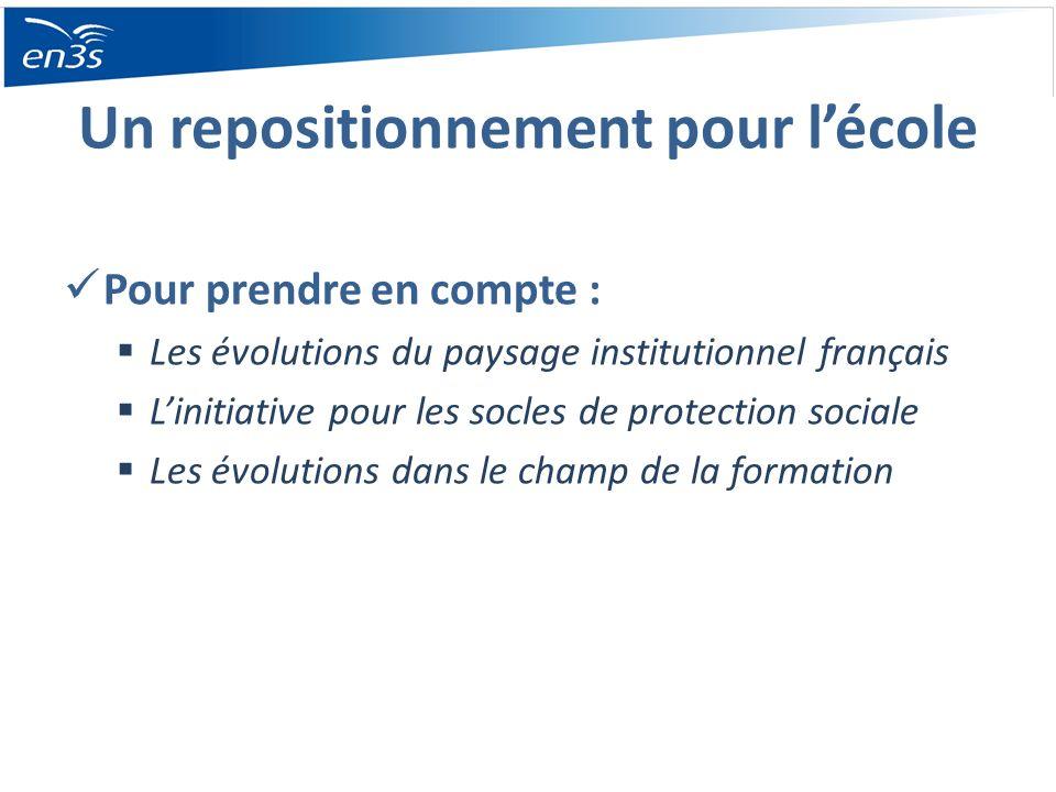 Un repositionnement pour lécole Pour prendre en compte : Les évolutions du paysage institutionnel français Linitiative pour les socles de protection s