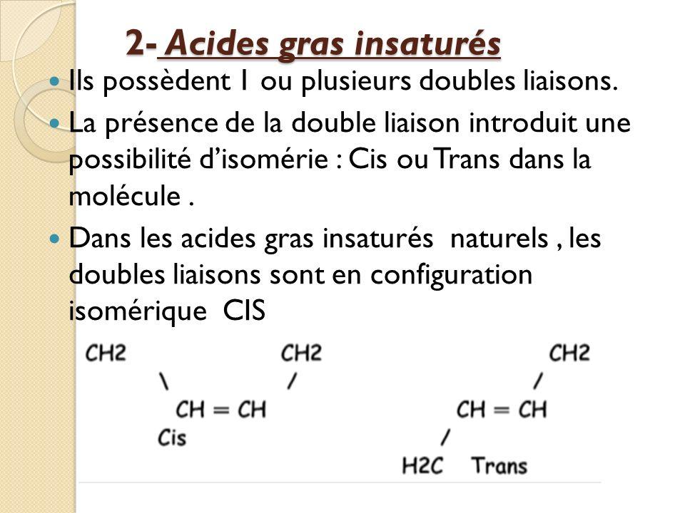 2- Acides gras insaturés 2- Acides gras insaturés Ils possèdent 1 ou plusieurs doubles liaisons.