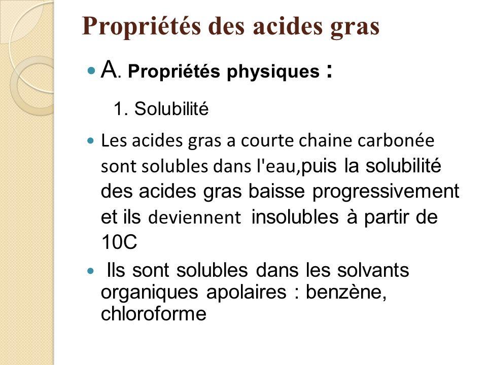 Propriétés des acides gras A. Propriétés physiques : 1.