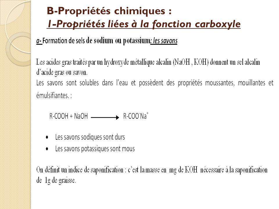 B-Propriétés chimiques : 1-Propriétés liées à la fonction carboxyle