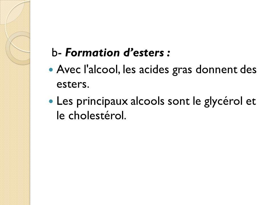b- Formation desters : Avec l alcool, les acides gras donnent des esters.